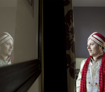 sikh groom reflection - before - after image