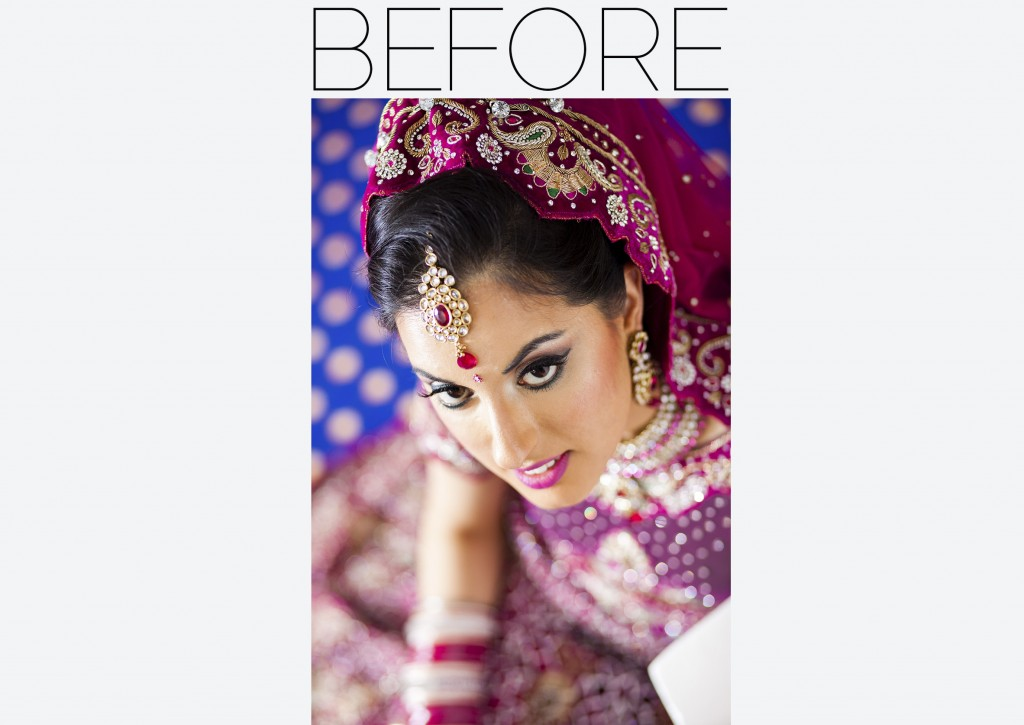 asian bride close up - before - after
