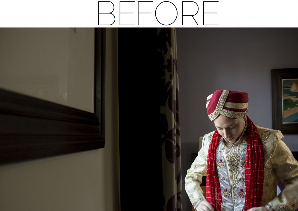 groom reflection - before - after