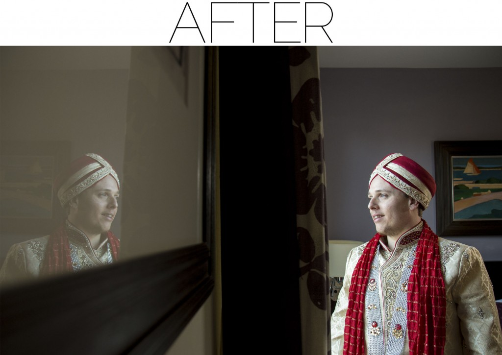 groom reflection - before - after image